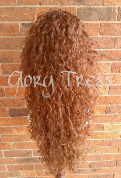 ON SALE // Long Beach Curly Half Wig, Kinky Curly Wig, Long Ombre Auburn Wig // FOREVER - Glory Tress