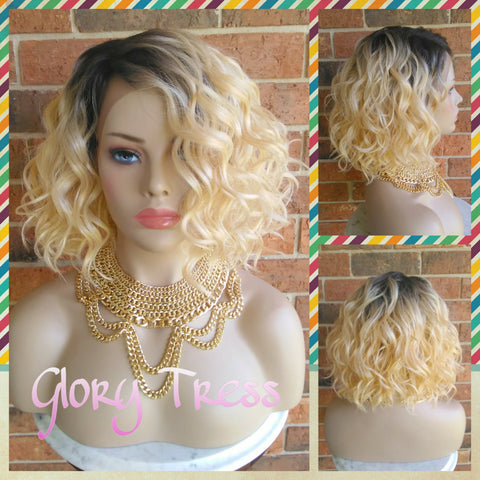 ON SALE // Short & Wavy Bob Lace Front Wig, 100% Human Hair Blend, Ombre Platinum Blonde // DELIGHT ( Free Shipping) - Glory Tress
