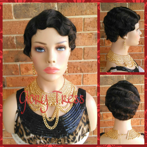 ON SALE // Short Finger Wave Full Wig, 100% Remy Brazilian Human Hair, 1920s Vintage Hairstyle // REVIVE - Glory Tress
