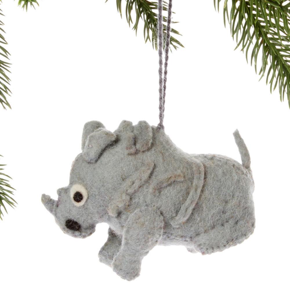 Silk Road Bazaar Rhino Felt Holiday Ornament Jungle Pillows
