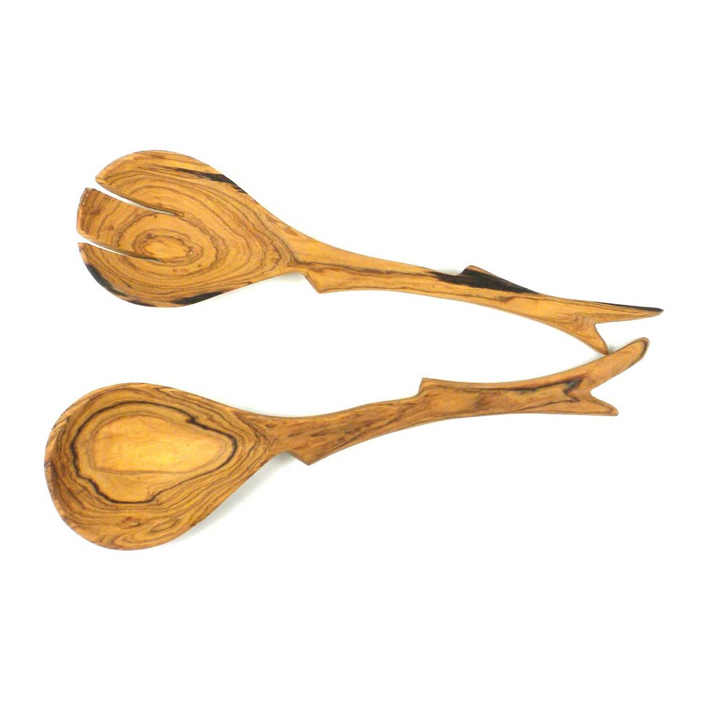 Jedando Handicrafts Olive Wood Twig Salad Servers Jungle Pillows