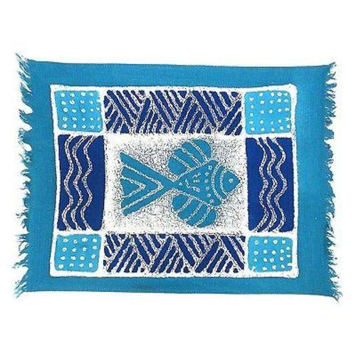 Tonga Textiles Hand-Painted Blue Fish Batiked Placemat Jungle Pillows