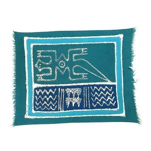Tonga Textiles Hand-Painted Blue Gecko Batiked Placemat Jungle Pillows