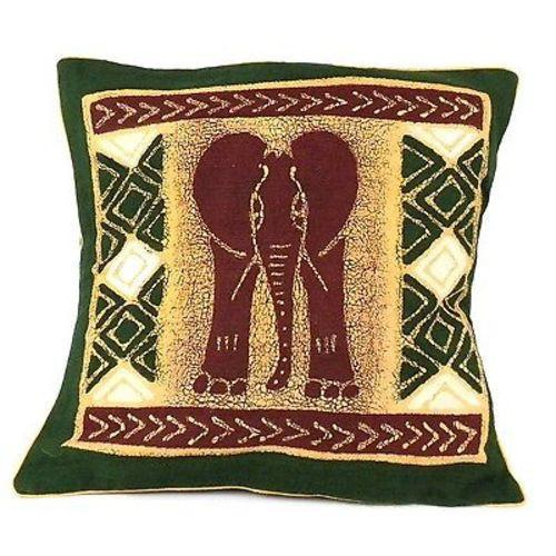 Tonga Textiles Handmade Green and Maroon Elephant Batik Cushion Cover Jungle Pillows