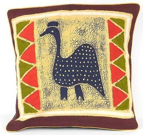 Tonga Textiles Handmade Guinea Fowl Batik Cushion Cover Jungle Pillows