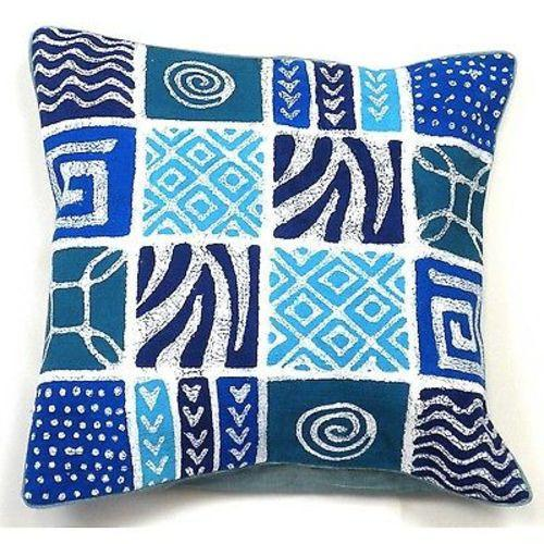 Tonga Textiles Handmade Blue Patches Batik Cushion Cover Jungle Pillows