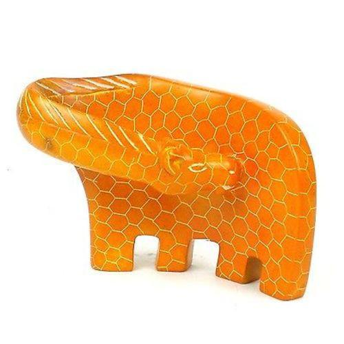 SMOLArt Handcrafted Large Giraffe Soapstone Sculpture in Orange Jungle Pillows