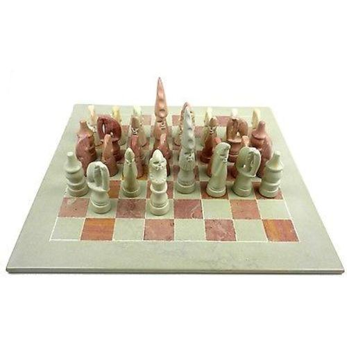 "SMOLArt Hand Carved Soapstone Maasai Chess Set 14"" Board Jungle Pillows"