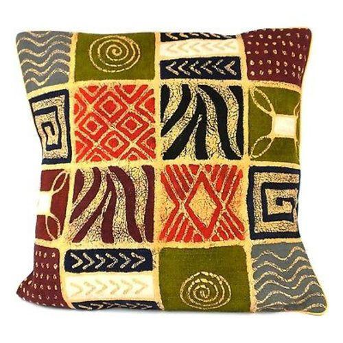 Tonga Textiles Handmade Colorful Patches Batik Cushion Cover Jungle Pillows