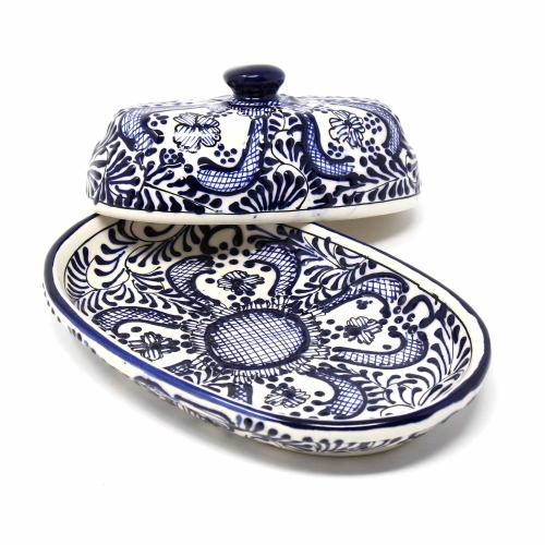 Encantada Blue Flower Handmade Pottery Butter Dish Jungle Pillows