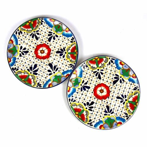 Encantada Dinner Plates Dots and Flowers Set of Two Jungle Pillows