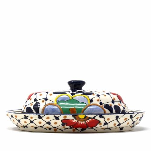 Encantada Dots and Flowers Handmade Pottery Butter Dish Jungle Pillows