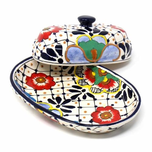 Encantada Dots and Flowers Handmade Pottery Butter Dish