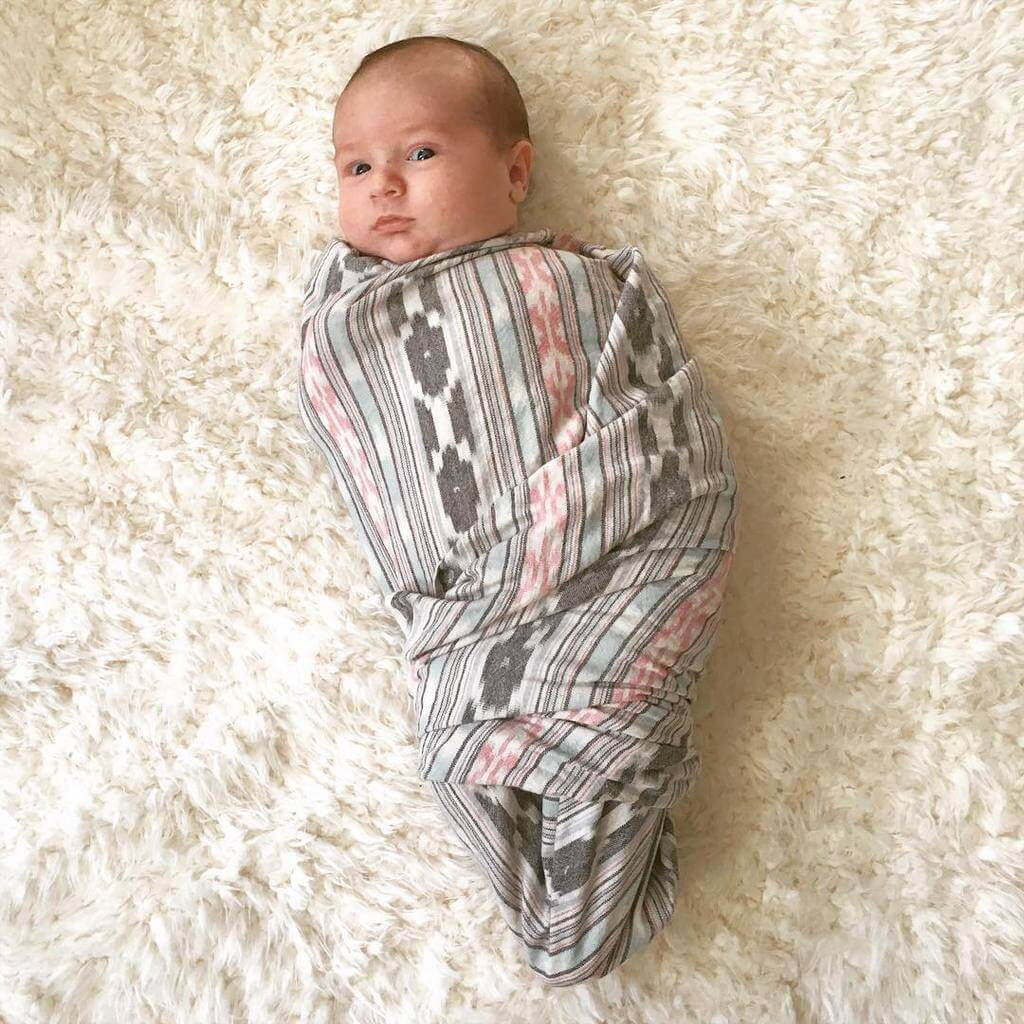 Rustic Loom Aqua Pink Stripe Artisan Woven Cotton Ikat Baby Swaddle Jungle Pillows