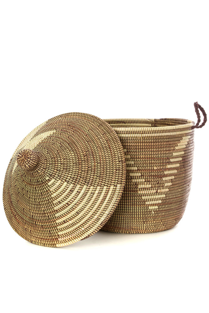 Swahili African Modern Brown and Cream Tribal Design Basket