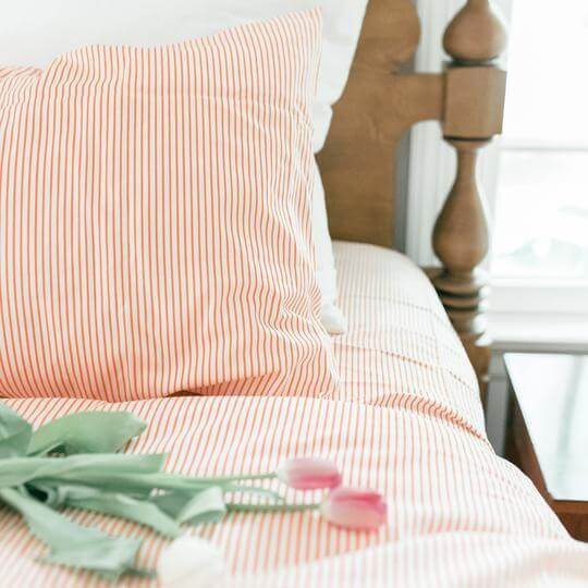 Caché District Pinstripe Duvet Set in Orange