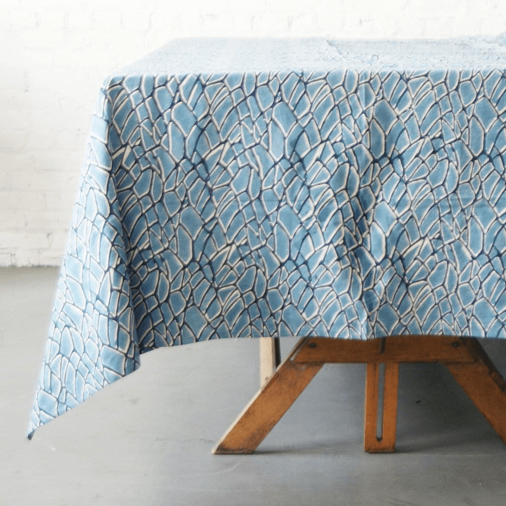Rustic Loom Cotton Blockprint Tablecloth Indigo Blue Branch Jungle Pillows