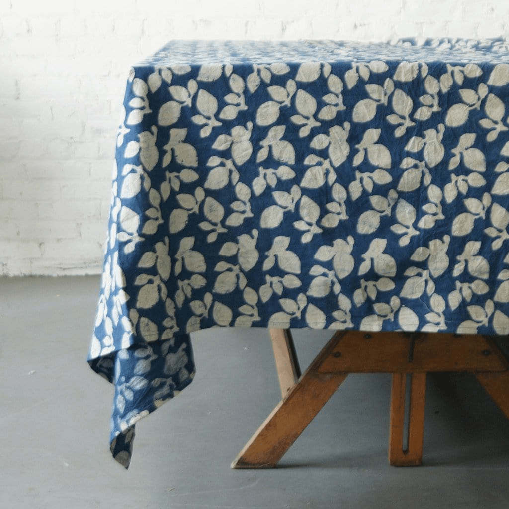 Rustic Loom Cotton Blockprint Tablecloth Indigo Blue Leaf Pattern Jungle Pillows