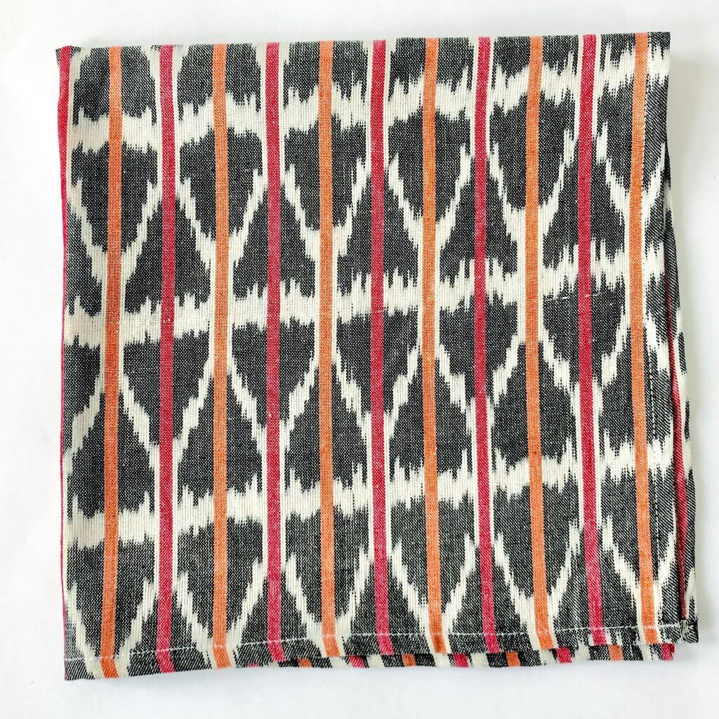 Rustic Loom Cotton Orange Pink Triangle Stripe Ikat Cloth Dinner Napkins Set of 4 Jungle Pillows
