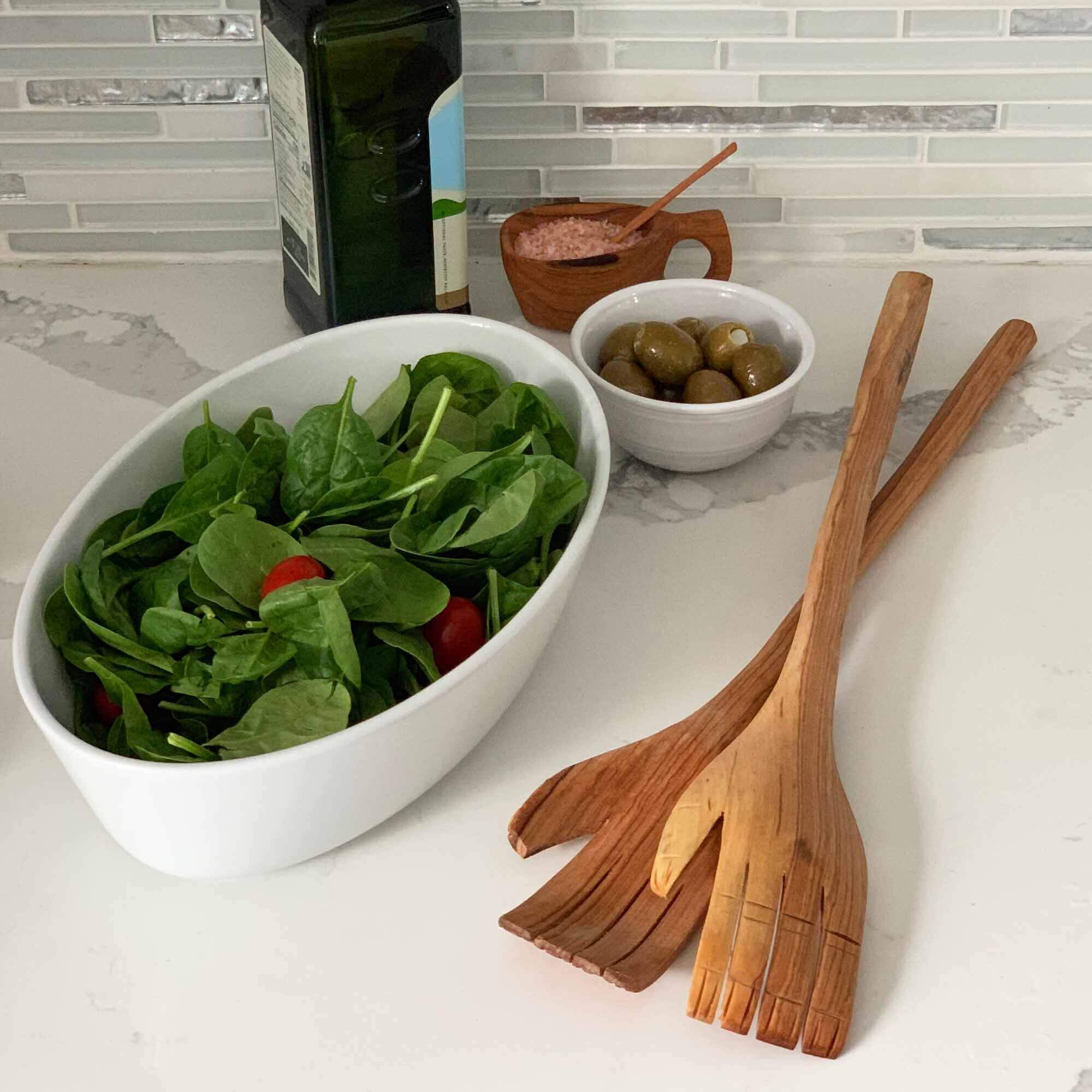 Jedando Handicrafts Olive Wood Giant Hands Salad Servers Jungle Pillows