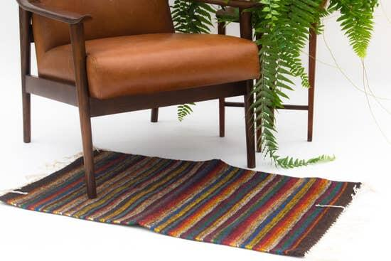 Decor Artesanal Handmade Wool Rug with Colorful Stripes Jungle Pillows