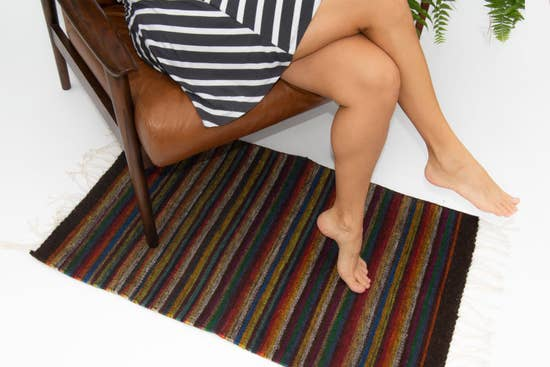 Decor Artesanal Handmade Wool Rug with Colorful Stripes