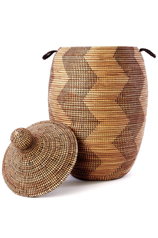 Swahili African Modern Extra Large Black and Gold Zig-Zag Hamper