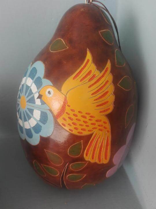 Blossom Inspirations Floral Painted and Carved Gourd Birdhouse Jungle Pillows