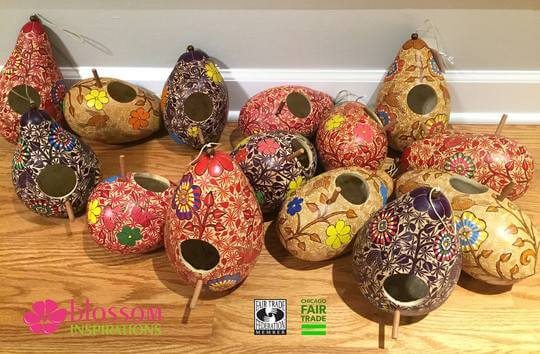 Blossom Inspirations Forest Painted and Carved Gourd Birdhouse Jungle Pillows