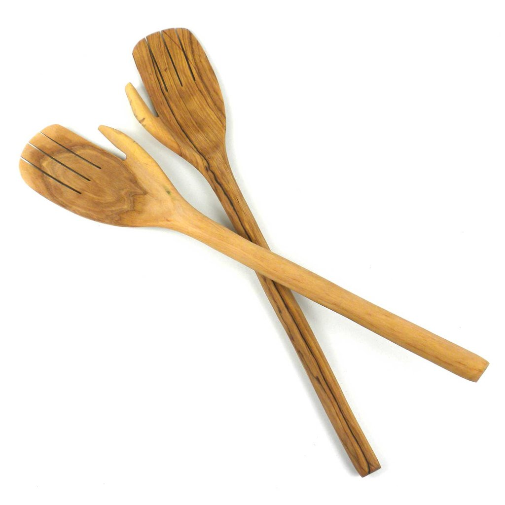 Jedando Handicrafts Olive Wood Giant Hands Salad Servers