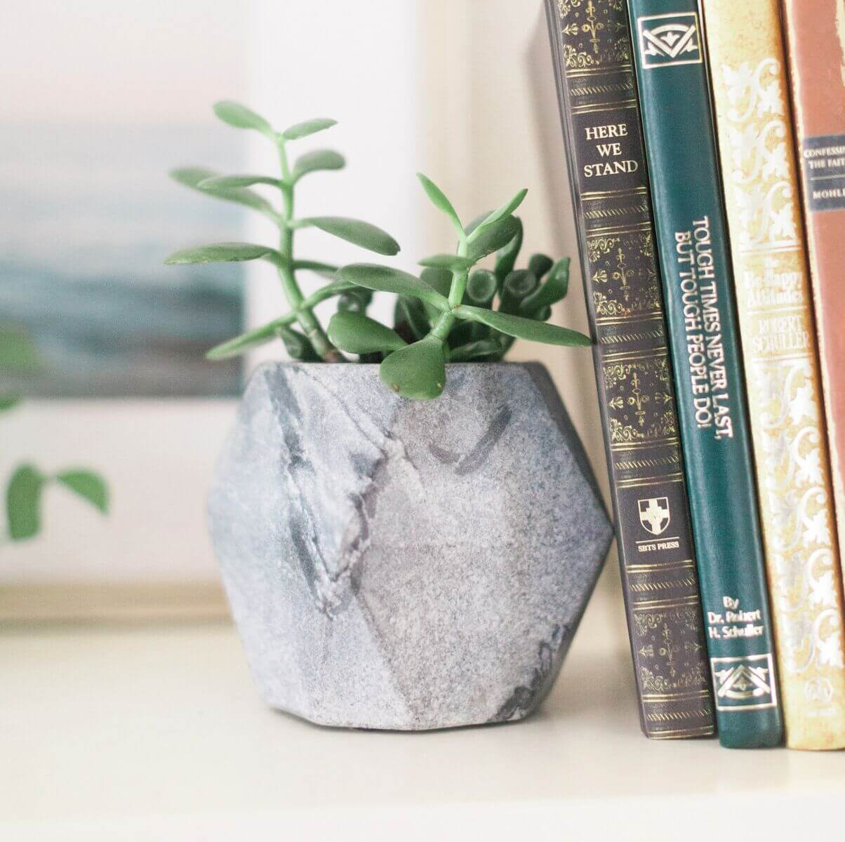 Acacia Creations Geo Black Stone Planter