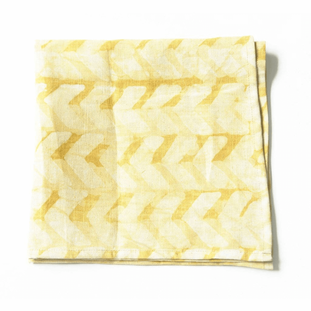 Rustic Loom Geometric Chevron Linen Napkin Set Maize Gold Hand Batik Block Printed Jungle Pillows
