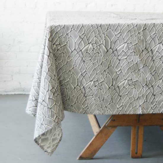 Rustic Loom Gray Branch Cotton Tablecloth Hand Blockprinted Jungle Pillows