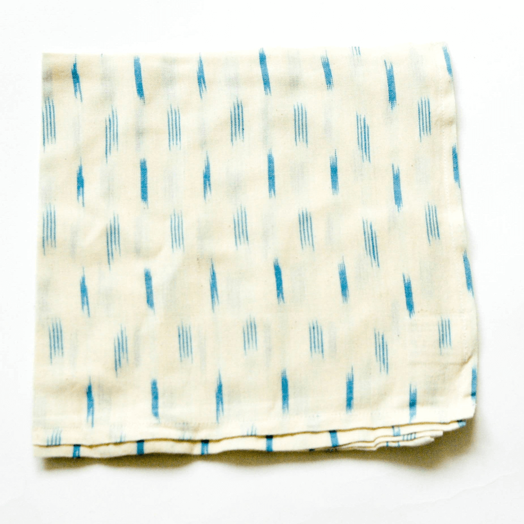 Rustic Loom Handwoven Cotton Ikat Cloth Dinner White Blue Dash Napkins Set Jungle Pillows