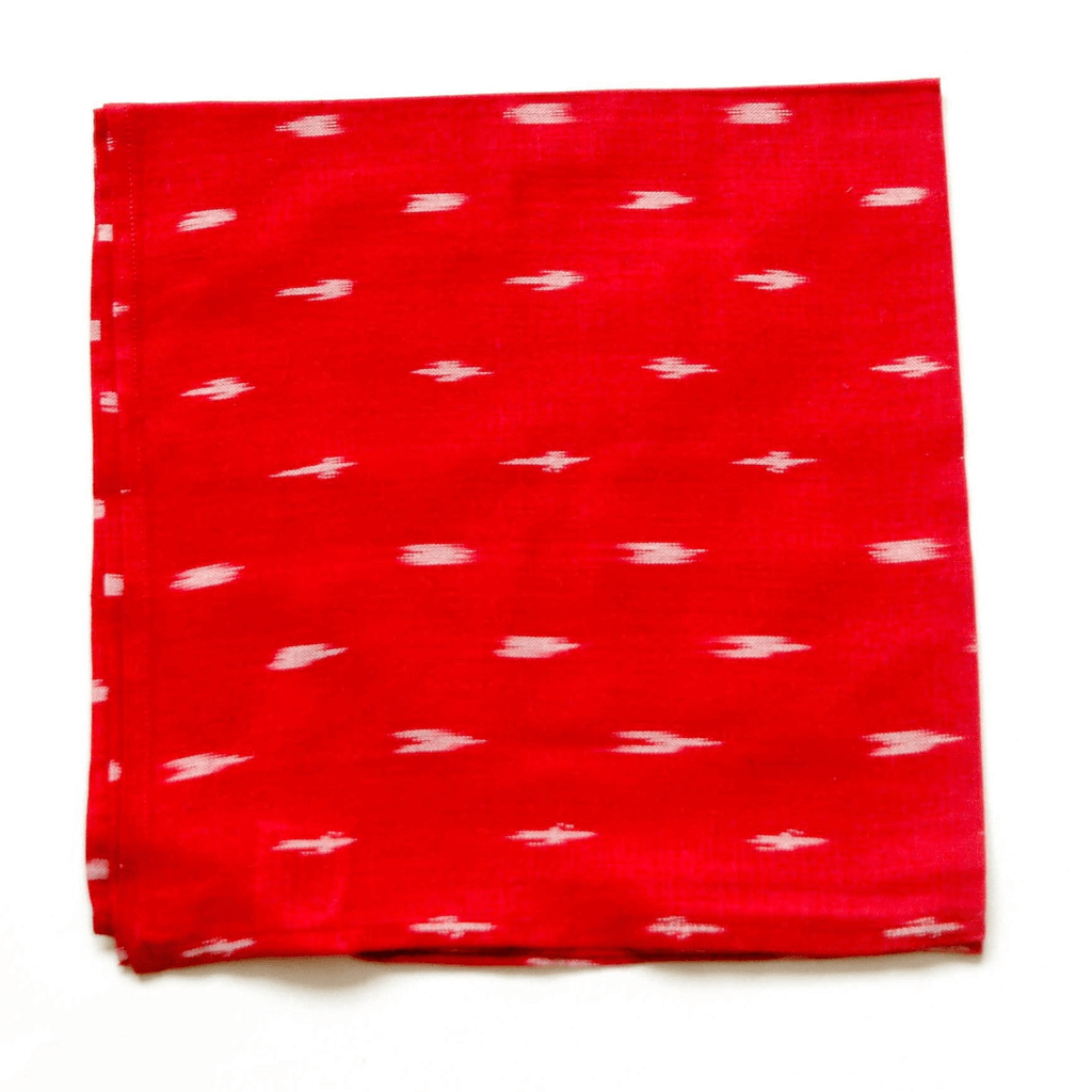 Rustic Loom Handwoven Cotton Ikat Red Dash Cloth Dinner Napkins Set of 4 Jungle Pillows