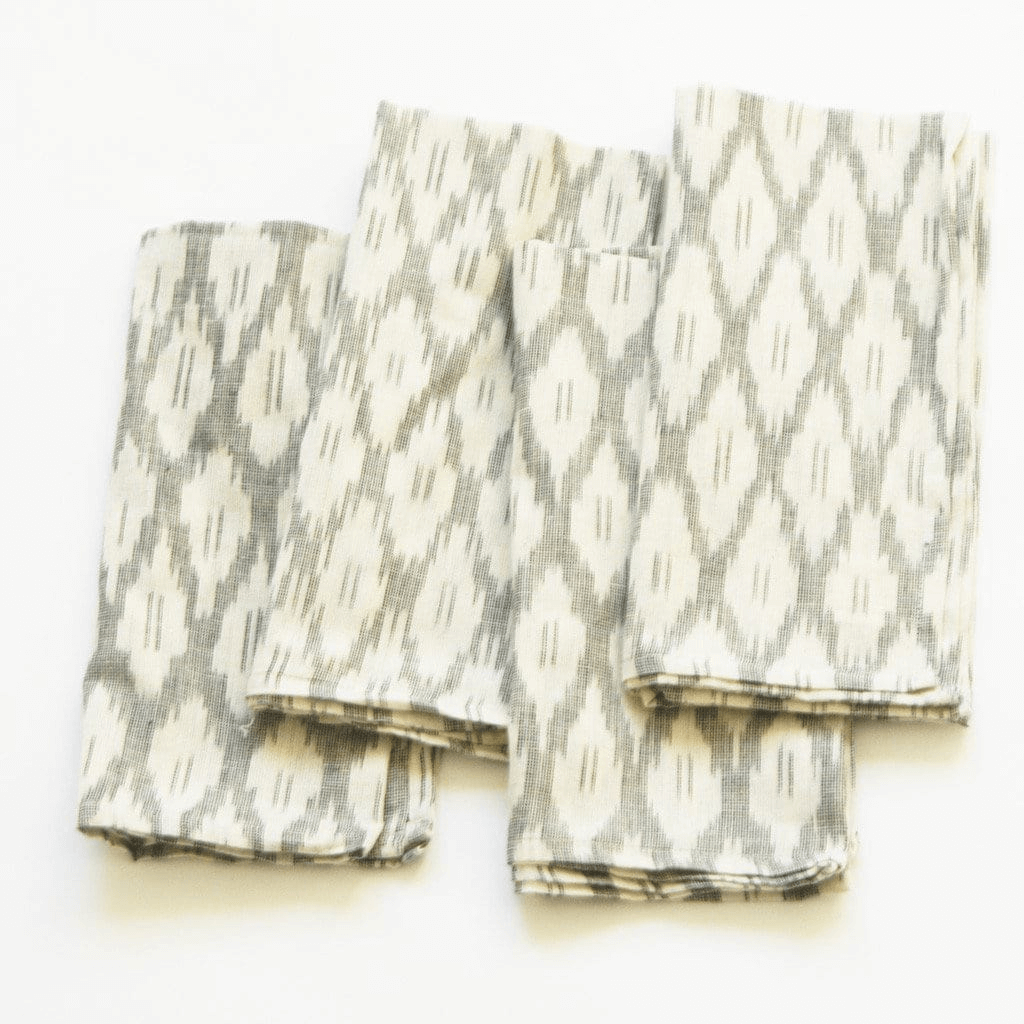 Rustic Loom Handwoven Ikat Cloth Dinner Napkin White Ogee Set of 4 Jungle Pillows