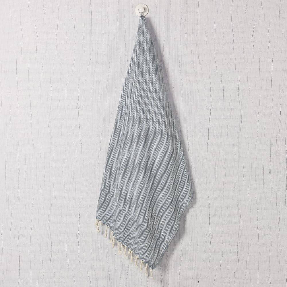 Slate + Salt Herringbone Turkish Towel