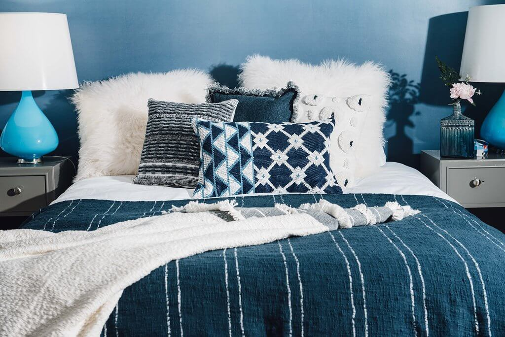 Bloom & Give Indigo Tina Cotton Pillow Jungle Pillows