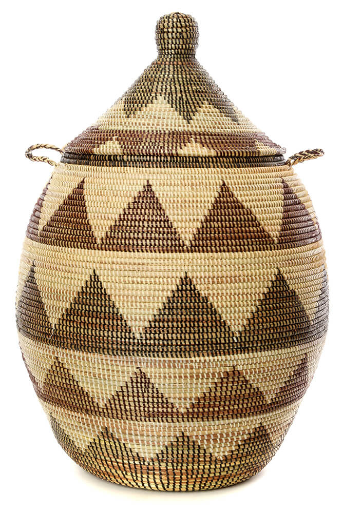 Swahili African Modern Large Black and Cream Dune Laundry Hamper Basket