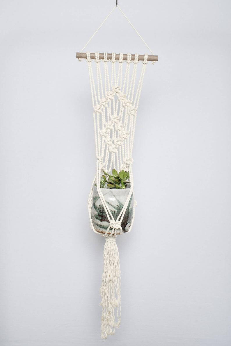 Macramama Macrame Plant Hanger with Dark Wood Dowel Jungle Pillows