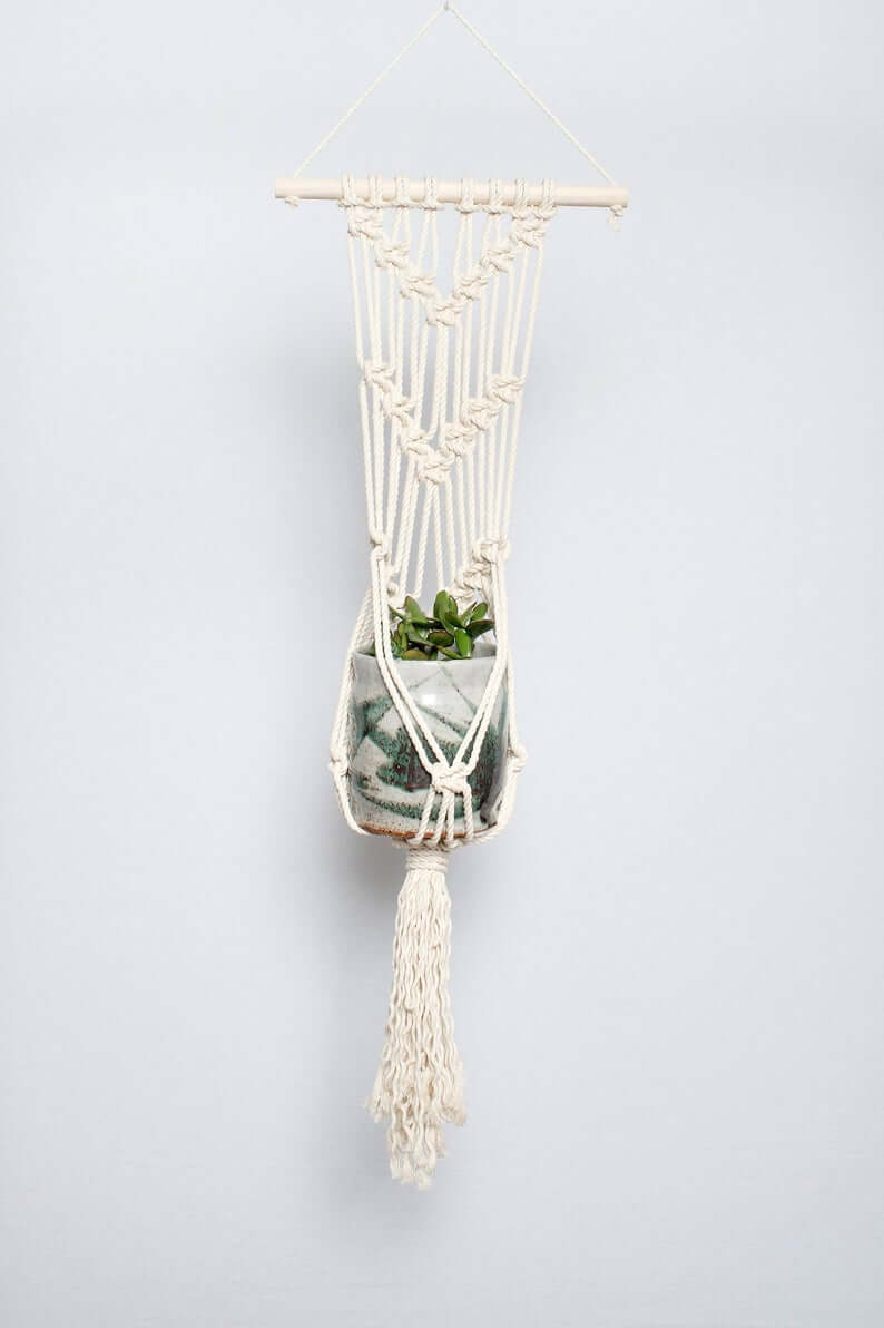Macramama Macrame Wall Plant Hanger with Light Wood Dowel