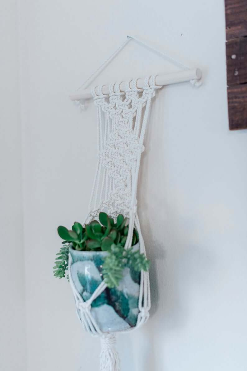 Macramama Dire Macrame Wall Plant Hanger with White Wood Dowel