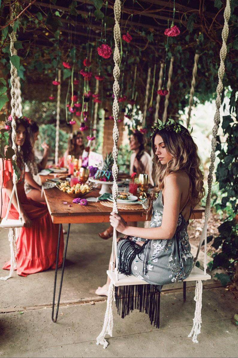 Macramama Outdoor Macrame and Wood Swing