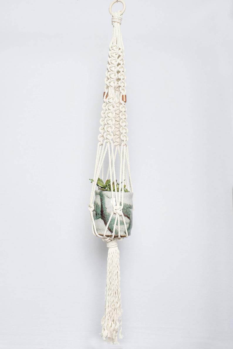 Macramama Macrame Plant Hanger with Copper Beads Jungle Pillows
