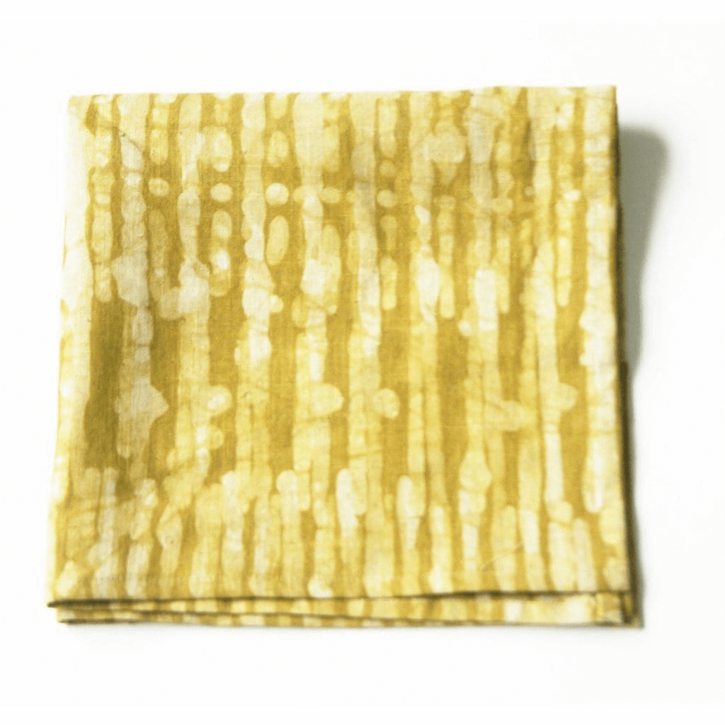 Rustic Loom Maize Gold Linen Cloth Napkin Set Thin Stripe Hand Batik Block Printed Jungle Pillows