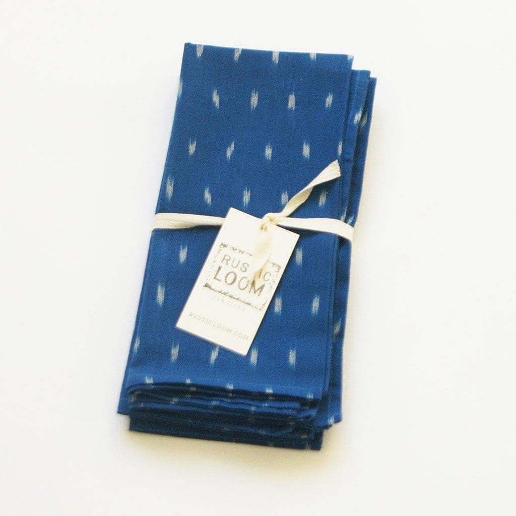Rustic Loom Cobalt Blue Dash Ikat Cloth Dinner Napkin Set of 4 Jungle Pillows