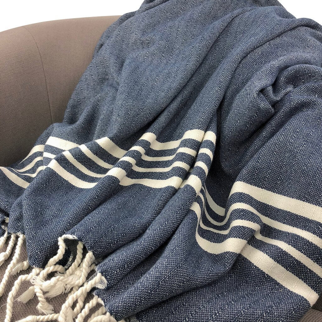 Slate + Salt Nautical Stripe Turkish Throw Jungle Pillows