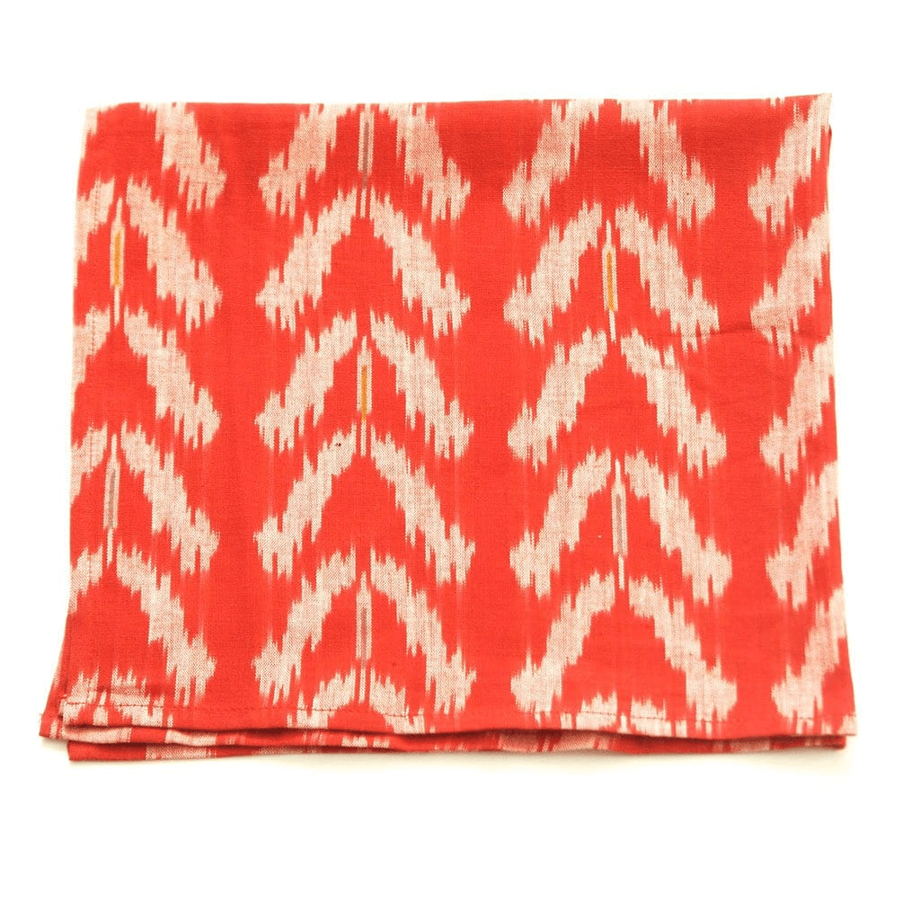 Rustic Loom Orange Tulip Handwoven Ikat Dinner Napkin Set of 4 Jungle Pillows