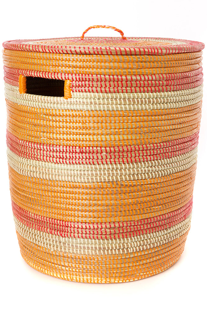 Swahili African Modern Orange, Red & Cream Sahara Basket