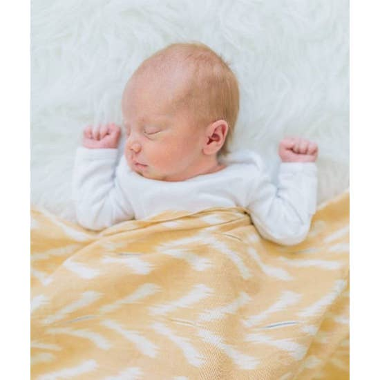 Rustic Loom Peach Tulip Handwoven Cotton Ikat Baby Swaddle Jungle Pillows